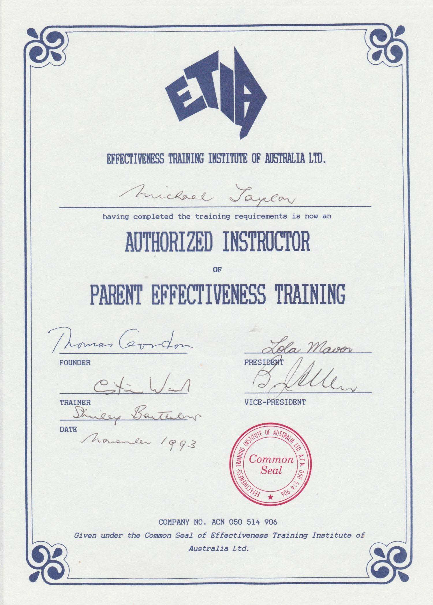PET - Parent Effectiveness Training certificate