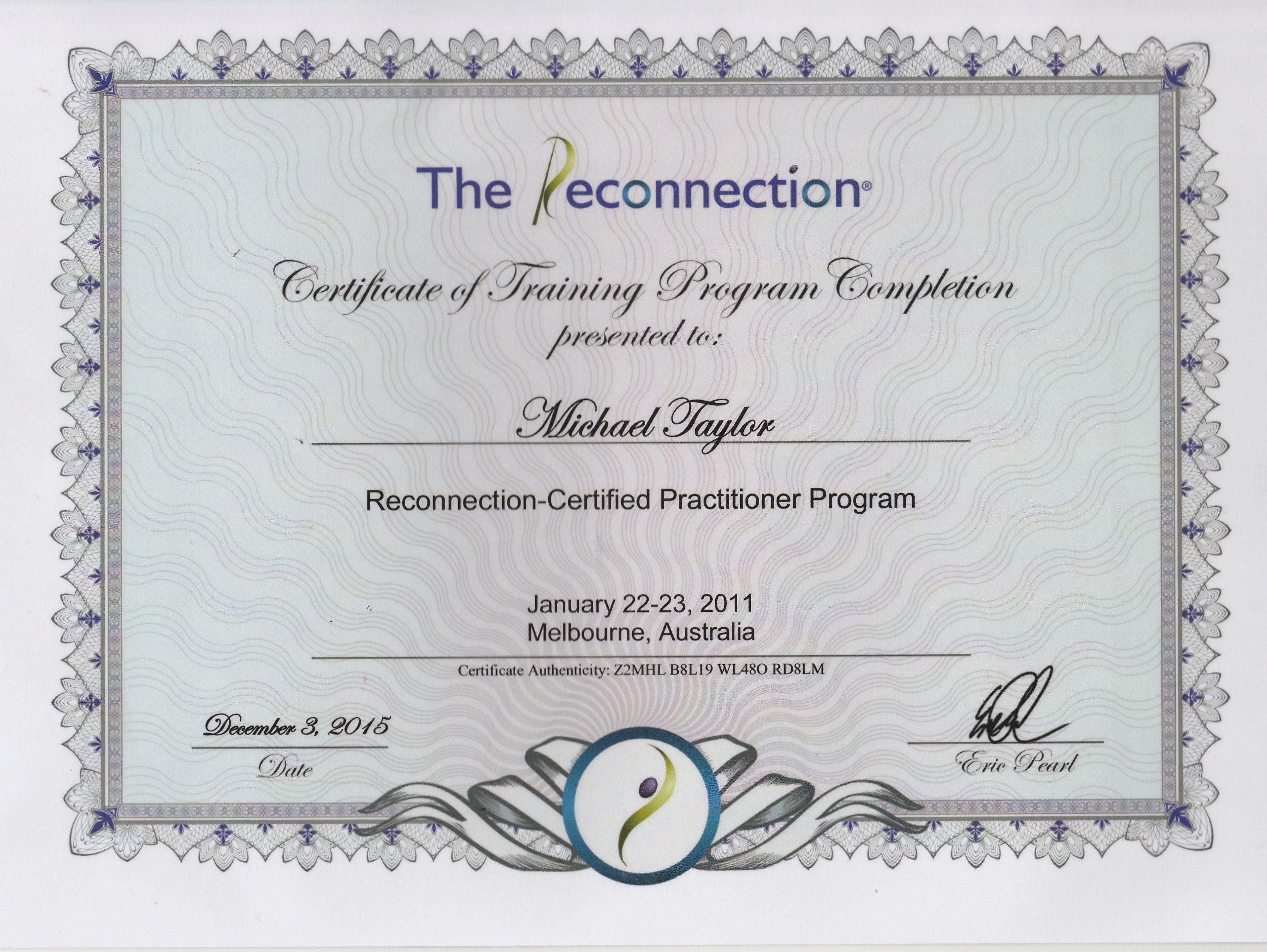 Reconnective Healing Practitioner certificate