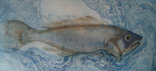 Kabir - fish in the water is thirsty. Painting by Betsy Gamble, 1984 'A cod in water'