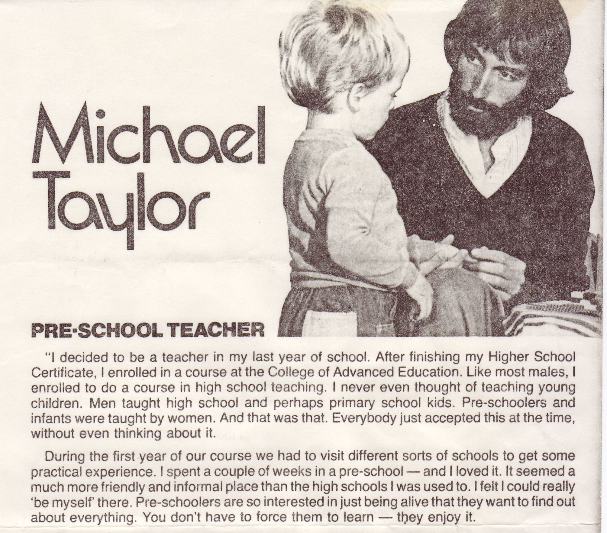 Newspaper article on Michael Taylor 1976